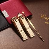 韩国777原装进口指甲刀剪钳3件套装 镀金美容TS-78G金色有现货!可加印LOGO!-礼品公司