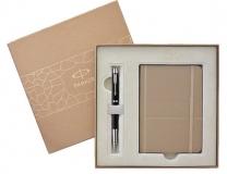 派克IM磨砂黑杆白夹宝珠笔  +  派克香槟笔记本礼盒套装