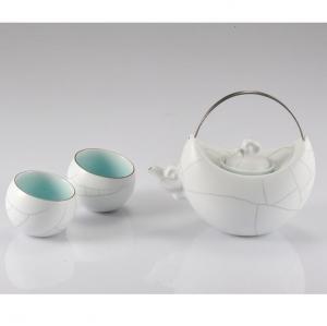 古婺窑火  望月茶具 一壶二杯-礼品定制
