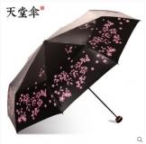 天堂伞 轻巧黑胶防晒 防紫外线 三折小黑伞