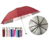 素色银胶布四节折叠雨伞